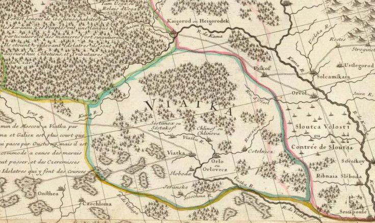 Вятка и Хлынов на карте 1706 года.  http://well-p.livejournal.com/594460.html