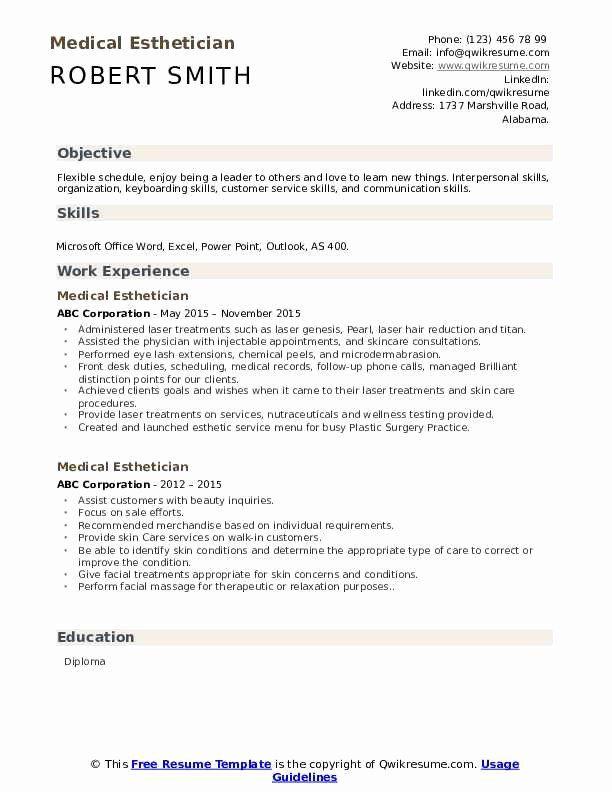 Esthetician Resume No Experience Printable Resume Template In 2020 Esthetician Resume Resume No Experience Resume Skills