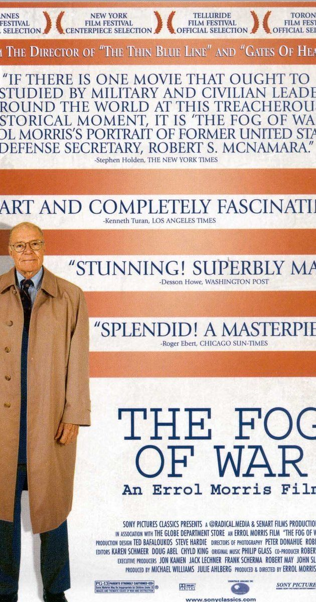 Directed by Errol Morris.  With Robert McNamara, John F. Kennedy, Fidel Castro, Richard Nixon. A film about the former US Secretary of Defense and the various difficult lessons he learned about the nature and conduct of modern war.