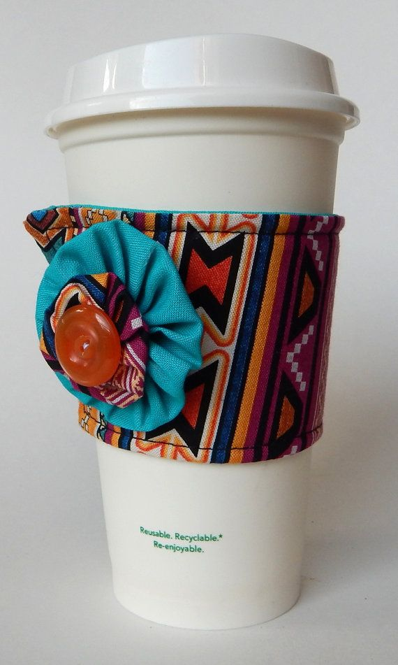 Tribal Print Coffee Cup Cozy  Indian Inspired Drink by aPopUpShop, $8.00