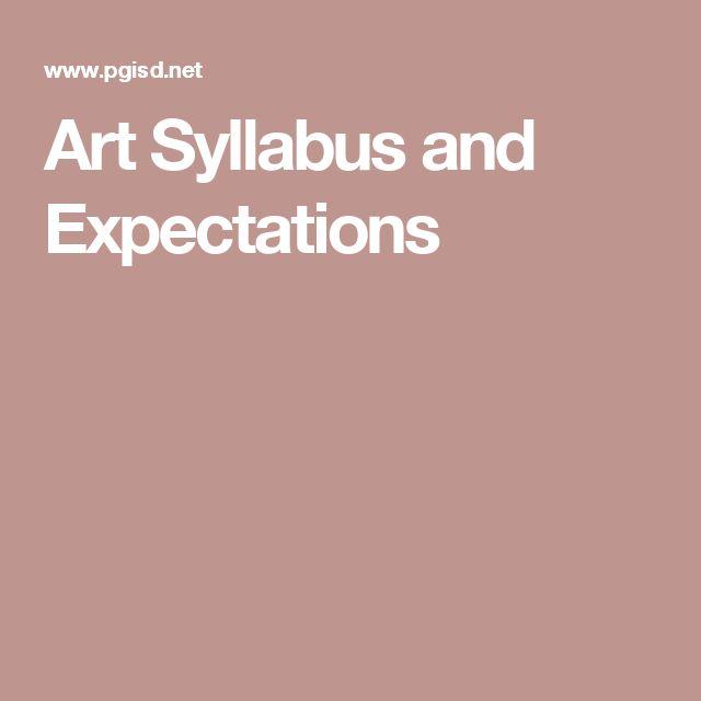 Art Syllabus and Expectations