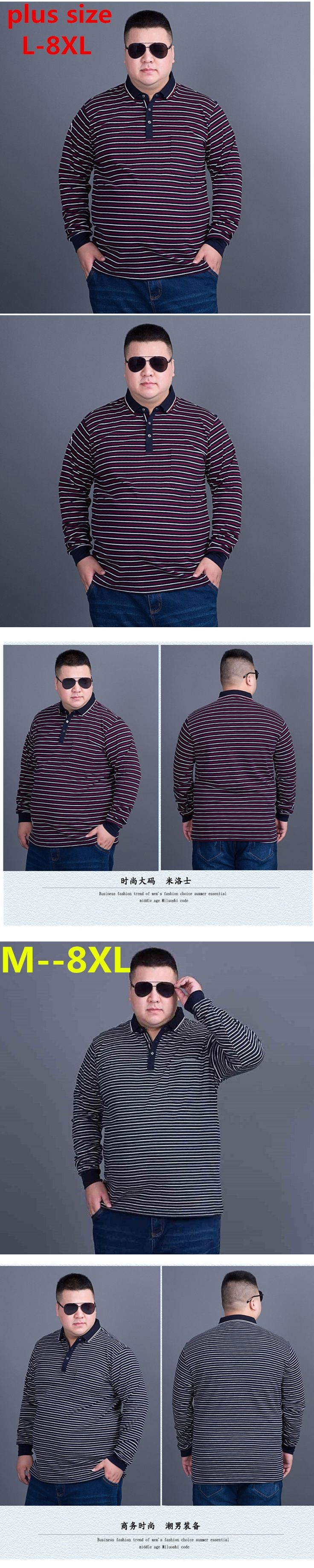 big size 8XL 7XL 6XL 2017 casual long sleeve business mens shirts male striped polo shirt designer men tenis polos camisa social