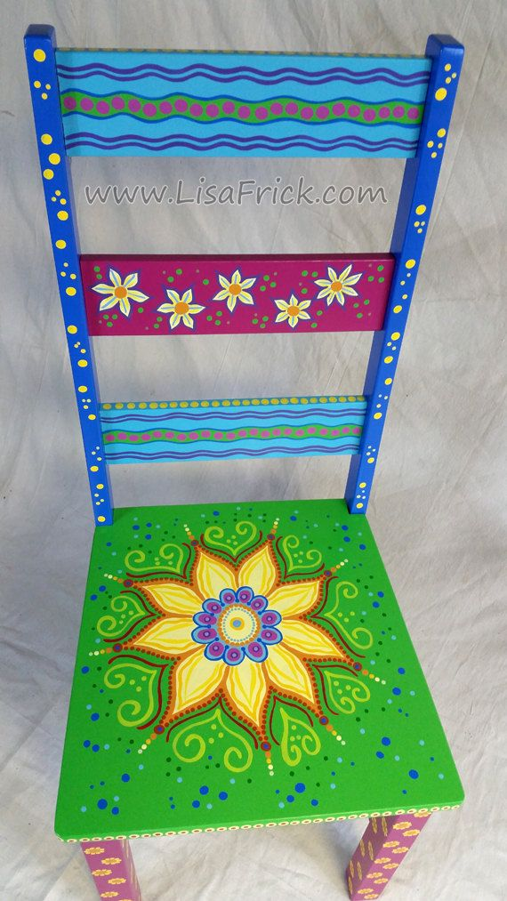 SOLD sample of CUSTOM WORK-Custom Painted Side Chairs by LisaFrick on Etsy