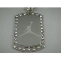 Michael Air Jordan Jumpman Dog Tag Necklace w/ Cubic Rhinestones