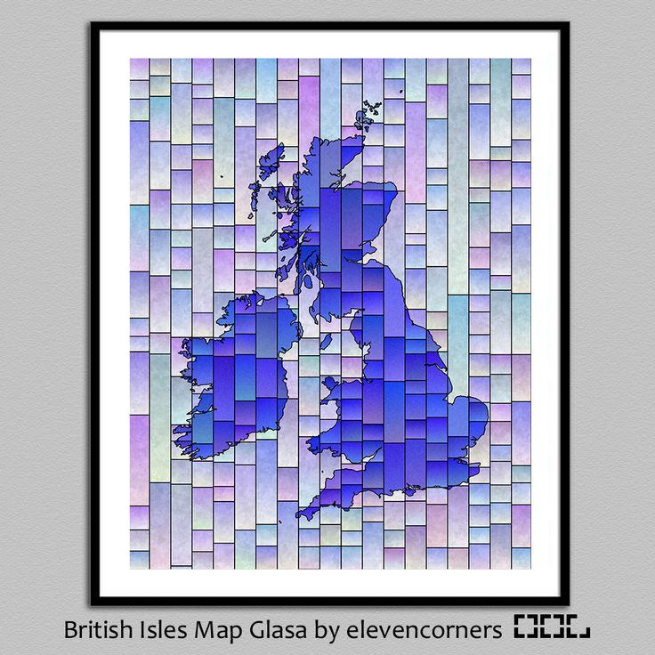 British Isles Map Glasa - a map of the British Isles art print - wall decor - uk great britain ireland map print - poster - map art print by elevencorners on Etsy #elevencorners #etsy #mapglasa #britishisles