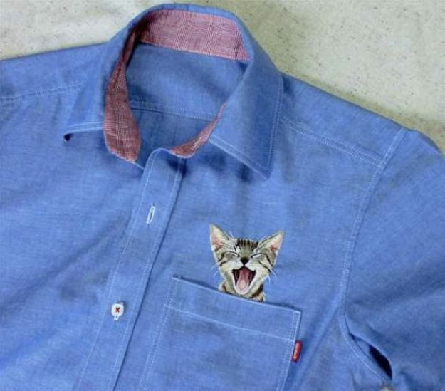 Embroidered Dress Shirts Bring Cat Memes To The Office