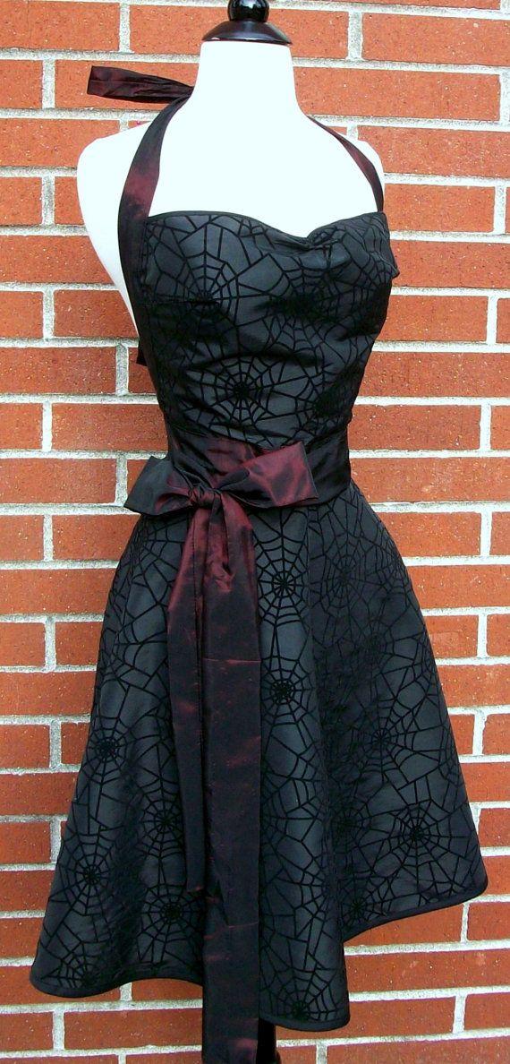 MADE TO ORDER - Womens Halloween Apron - Black Spiderweb Cut Velvet Taffeta