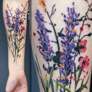 floral tattoo watercolor