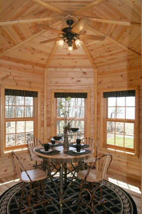 A Very Nice Addition To A Log Home Is A Octagon Shaped