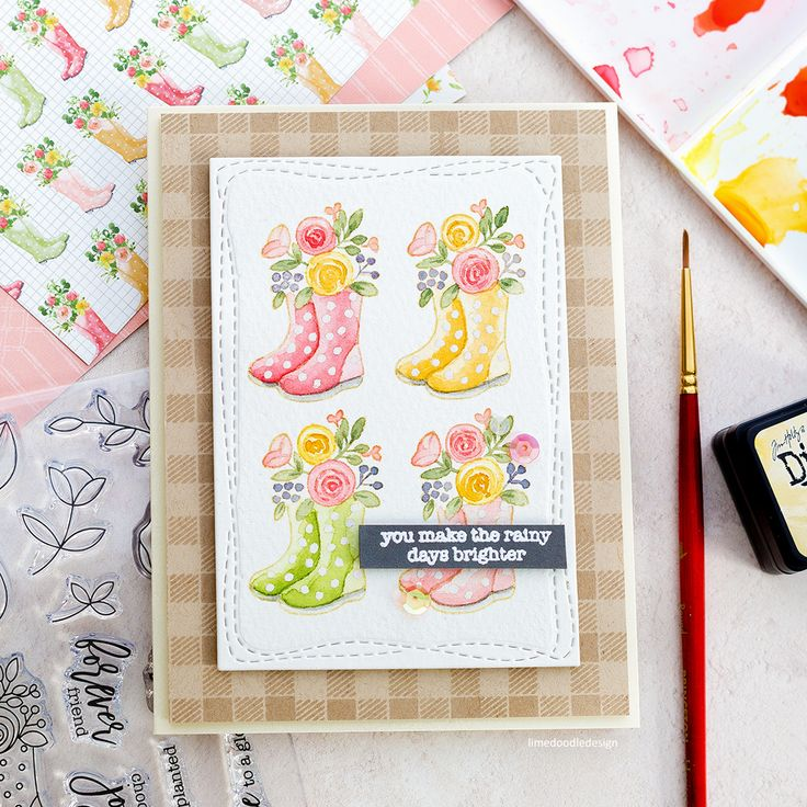 Watercoloured spring welly boot handmade card by Debby Hughes. Spring is in the air with the new Simon Says Stamp March Card Kit!