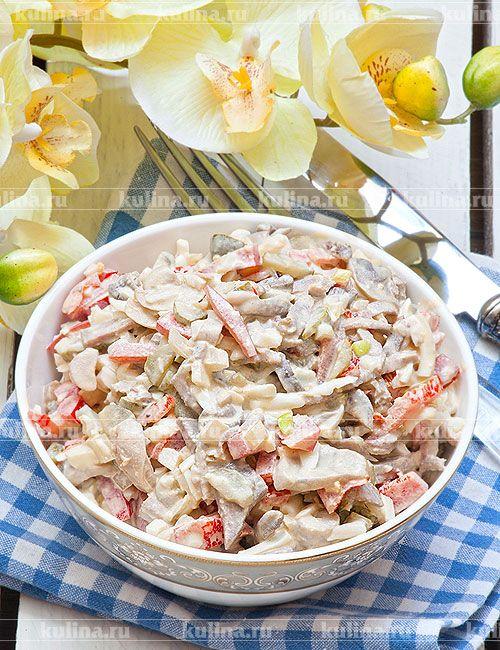 Салат из языка и шампиньонов - рецепт с фото
