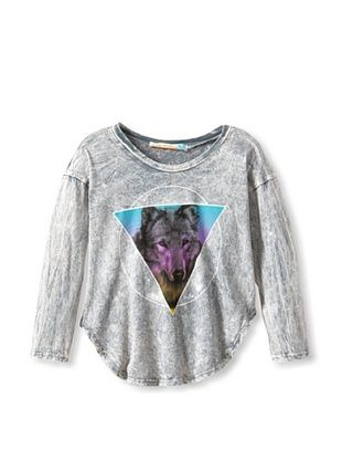 85% OFF Vintage Havana Girl's Acid Wash Wolf Tee (Grey)