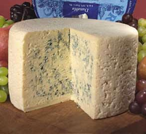 Danablu Cheese, or Danish Blue that comes from Denmark, is one of the strongest flavoured of the blue cheeses. This cheese is full of blue veins of mold. The cheese is a soft texture (almost spreadable), and also slightly crumbly. This cheese was invented in the early 20th century by Marius Boel, who was trying to copy Roquefort cheese, a very similar blue cheese which is made exclusively in France.