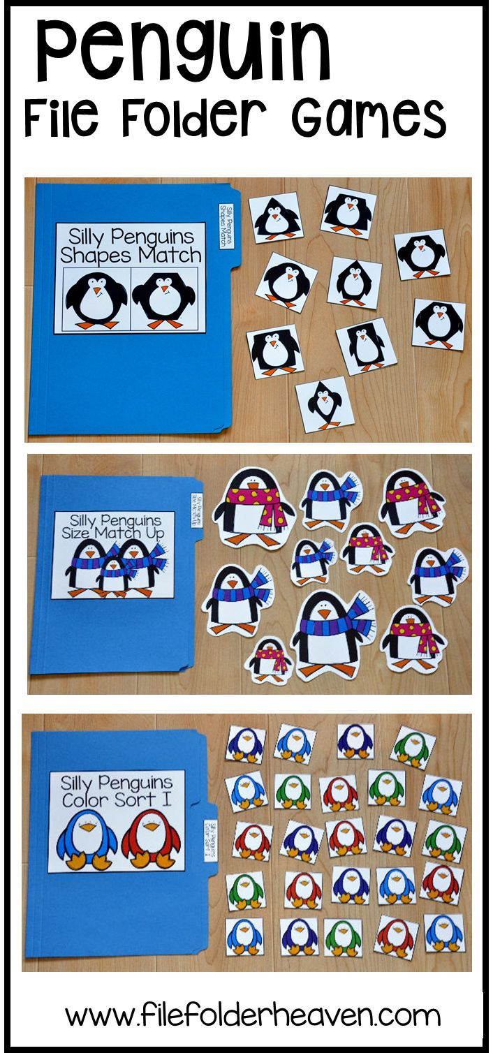 This Penguin File Folder Games Mini-Bundle focuses on basic matching and sorting skills.    This set includes nine unique file folder games with three bonus games for differentiation (for a total of 12 games!) These activities  focus on basic skills, such as matching picture to picture, matching shapes, matching numbers, matching letters, matching by size, sorting by size, sorting by color, and sorting by likeness and differences.