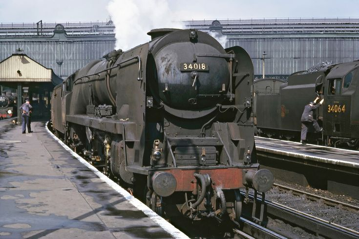 WC 34018 Axminster on Bournemouth express at Waterloo 5 May 1966 (Bill Wright)