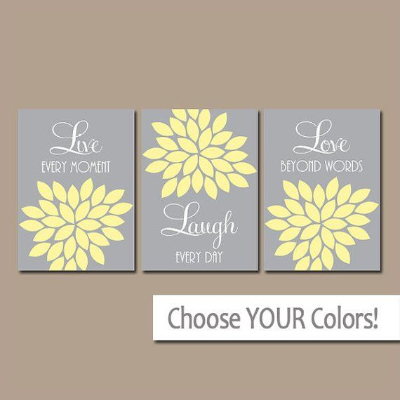 Live Laugh Love Wall Art Yellow Gray Bedroom Wall Decor Etsy