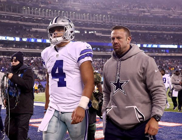 Dak Prescott Photos Photos - Dak Prescott #4 of the Dallas Cowboys walks off the field after the loss to the New York Giants at MetLife Stadium on December 11, 2016 in East Rutherford, New Jersey - Dallas Cowboys v New York Giants