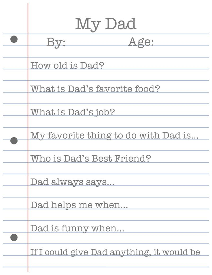 Free Father's Day Printable! Great to do last week of school....poor Dad always misses out because Father's Day is after schools finished!