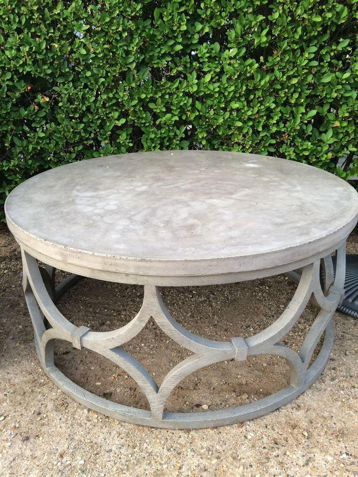 Outdoor Concrete Round Rowan Coffee Table By Mecox Gardens.