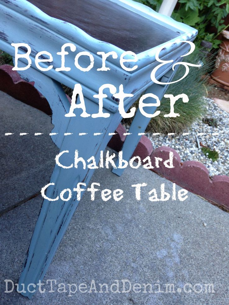 Before and after chalkboard coffee table | DuctTapeAndDenim.com