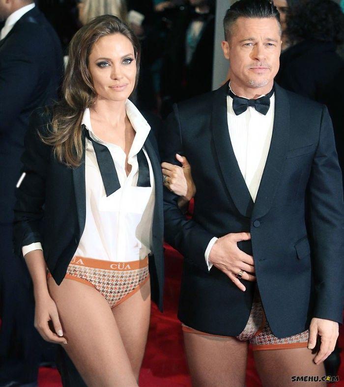 Анджелина Джоли и Брэд Питт без штанов