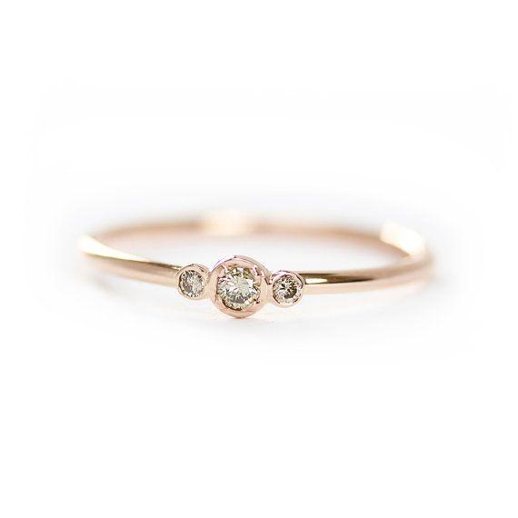 Three Stone Champagne Diamond Engagement Ring,Thin 3 Stone Dainty Bezel Set…