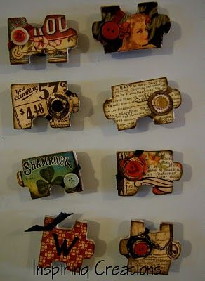 Magnets out of wooden puzzle pieces and vintage paper.  Loveit!: Vintage Paper, Inspiration Creations, Puzzles Pieces, Mod Podge, Vintage Puzzles, Pieces Magnets, Scrapbook Paper, Puzzles Magnets, Jigsaw Puzzles