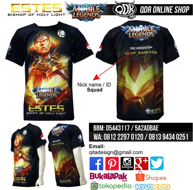 Estes - Bishop of Holy Light (T-shirt MObile Legends) Bahan: Dry-fit printing: sublimasi untuk pemesanan: BBM D5443117 / 5A2ADBAE (Qdr online shop) WA/LINE 081222970120 / 08129434025