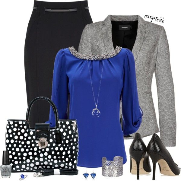 Work Outfit: Work Clothing, Church Outfits, Grey Blazers, Blue Shirts, Fashionista Trends, Black Skirts, Work Outfits, Fall Fashion Trends, Black Pencil Skirts