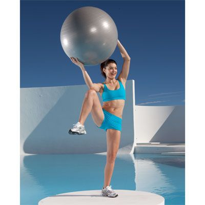 Use an exercise ball for this Standing Side Crunch to blast fat fast! | http://www.health.com/health/gallery/0,,20664616_21,00.html