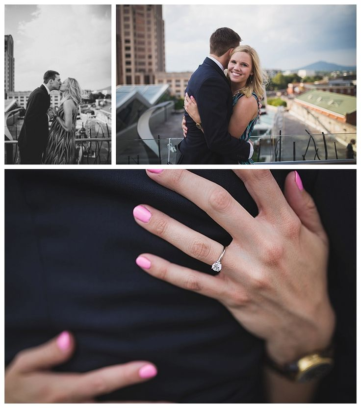 Stunning rooftop proposal in Center in the Square in Roanoke VA - Emily Rogers: Photographer | Creative Portrait + Wedding Photography in Southwest VA and Northeast Tennessee - beautiful engagement ring!!