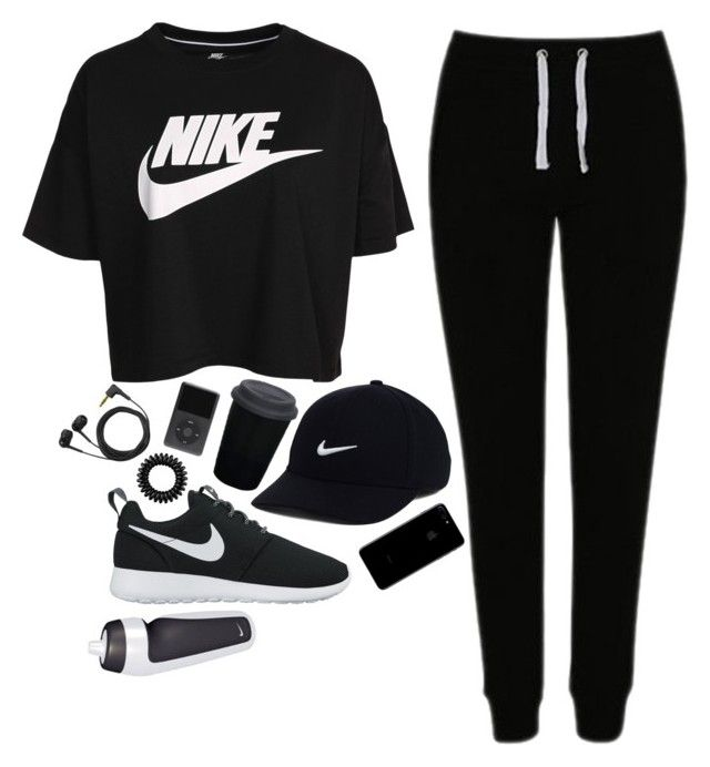 """sporty look"" by sara-koivula ❤ liked on Polyvore featuring NIKE, George, adidas, Invisibobble and Sennheiser"