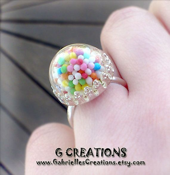 Sprinkles Globe Ring  Colorful Candy  Mini by GabriellesCreations