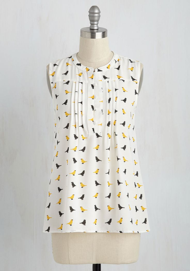 Freelance for the Taking Top in Birds - White, Novelty Print, Pleats, Work, Bird, Sleeveless, Woven, Good, Variation, Crew, Mid-length, Print with Animals