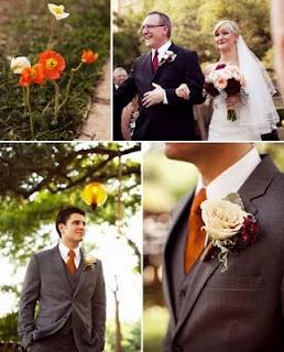 dark gray tux, orange tie, cream rose. YES YES YES.
