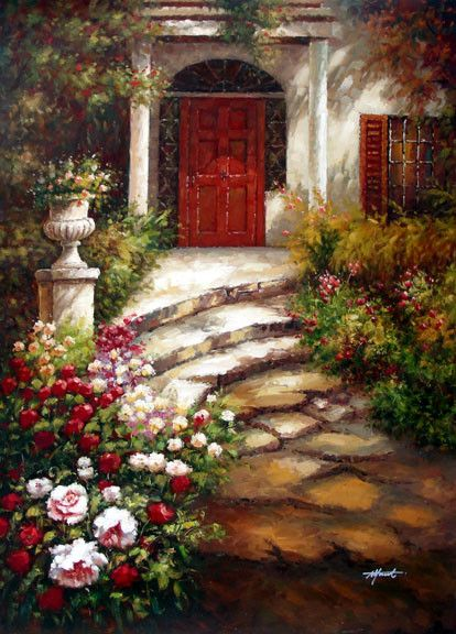 Garden Walkway to the Villa - Original Oil Painting Artist: Unknown  Size: 48 High x 36 Wide Canvas  Hand-painted, original oil painting on unstretched canvas.