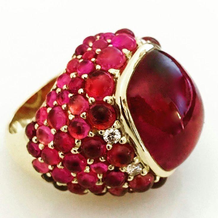 Rubelite & Diamond Golden Ring