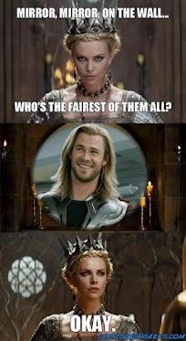 it's #Thorsday!: Chris Hemsworth, Mirror Mirror, Hahahah Truths, Chris Evening Funny, Movie, So True, Evil Queen, True Stories, Snow White