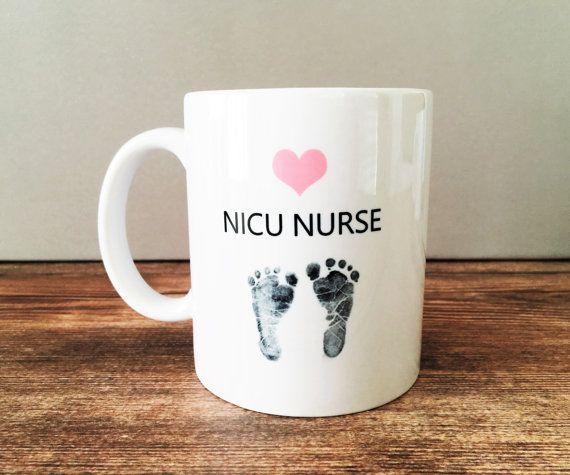 Custom NICU Nurse Coffee Mug Pink Heart and by LynettePerryDesigns
