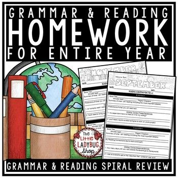 You will Love this Homework Packet for Grammar and Homework Reading Logs perfect for your 3rd Grade, 4th Grade and 5th Grade students! It is to help students show comprehension in their daily reading. I have created an easy to use homework packet that has a monthly set of homework that can easily target the skills we review.