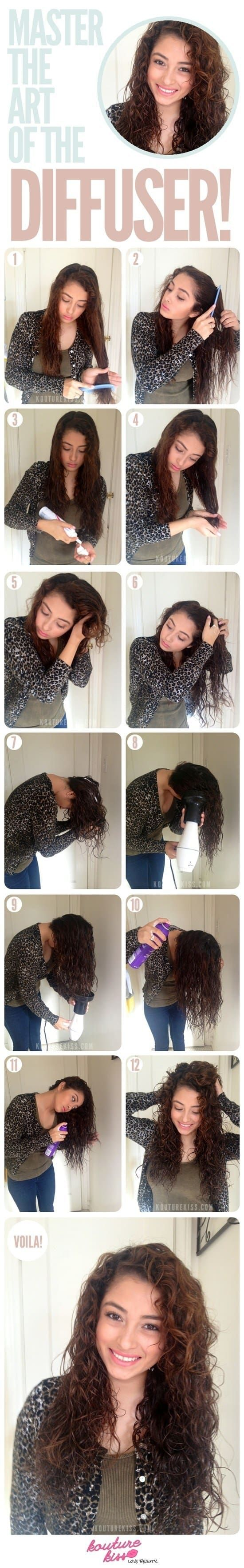 Hará una ENORME diferencia para aplacar el frizz y mantener tu cabello intacto. Los difusores de cabello suavizan la fuerza del aire, de modo que tu cabello no se moverá mientras lo secas, algo muy útil si tienes rulos.Aprende más sobre este truco aquí.