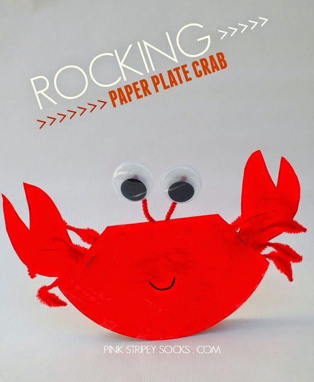 rocking paper plate crab craft- part of 10 ocean crafts and activities for kids