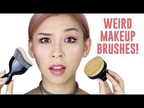 Beleza e Fantasia: Weird Makeup Brushes- TINA TRIES IT  -  Tina Yong