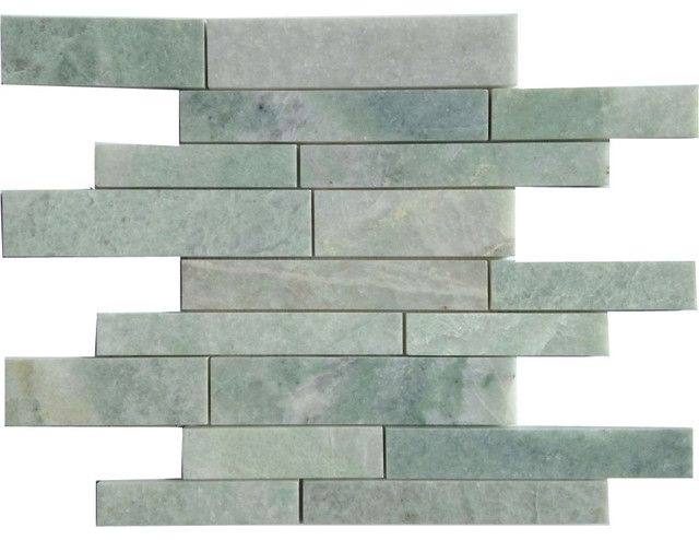 Large Random Strip Ming Green Marble Mosaic Tile Green Marble Tile Ming Green Marble Ming Green Marble Marble Mosaic Tiles Marble Shower Tile Green Marble
