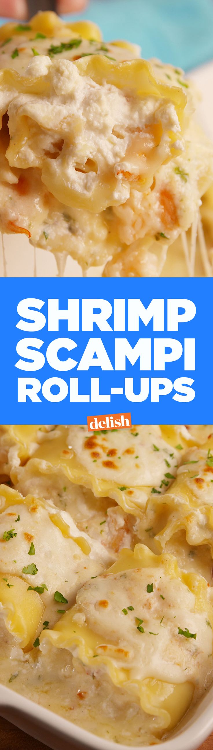 Shrimp Scampi Roll-Ups are the menu item Olive Garden is missing. Get the recipe on Delish.com.
