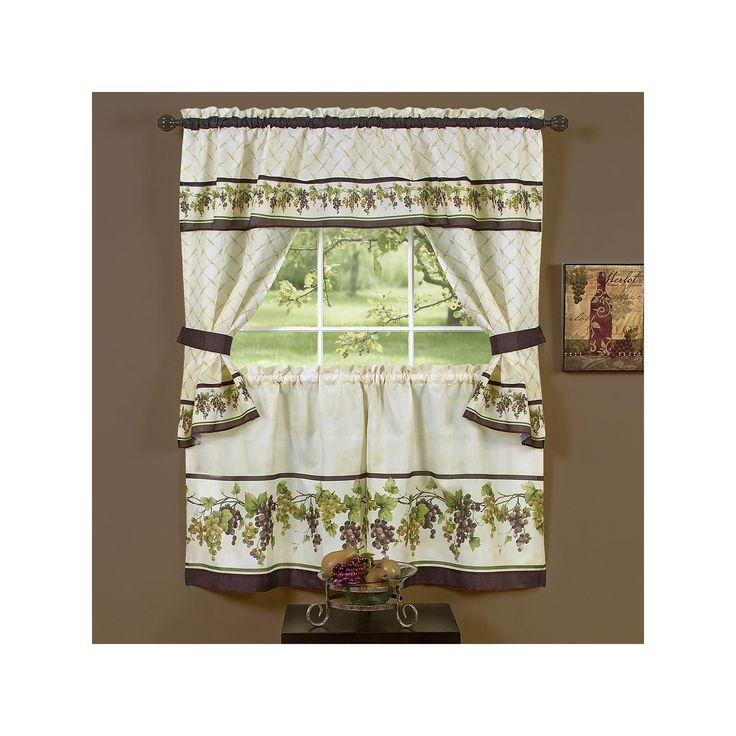 3 Piece Faux Cotton Espresso Brown Kitchen Window Curtain: 25+ Best Ideas About Kitchen Curtain Sets On Pinterest