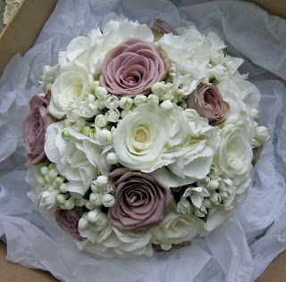 Wedding Flowers Blog: Elizabeth's vintage lace themed wedding flowers in mauve and white