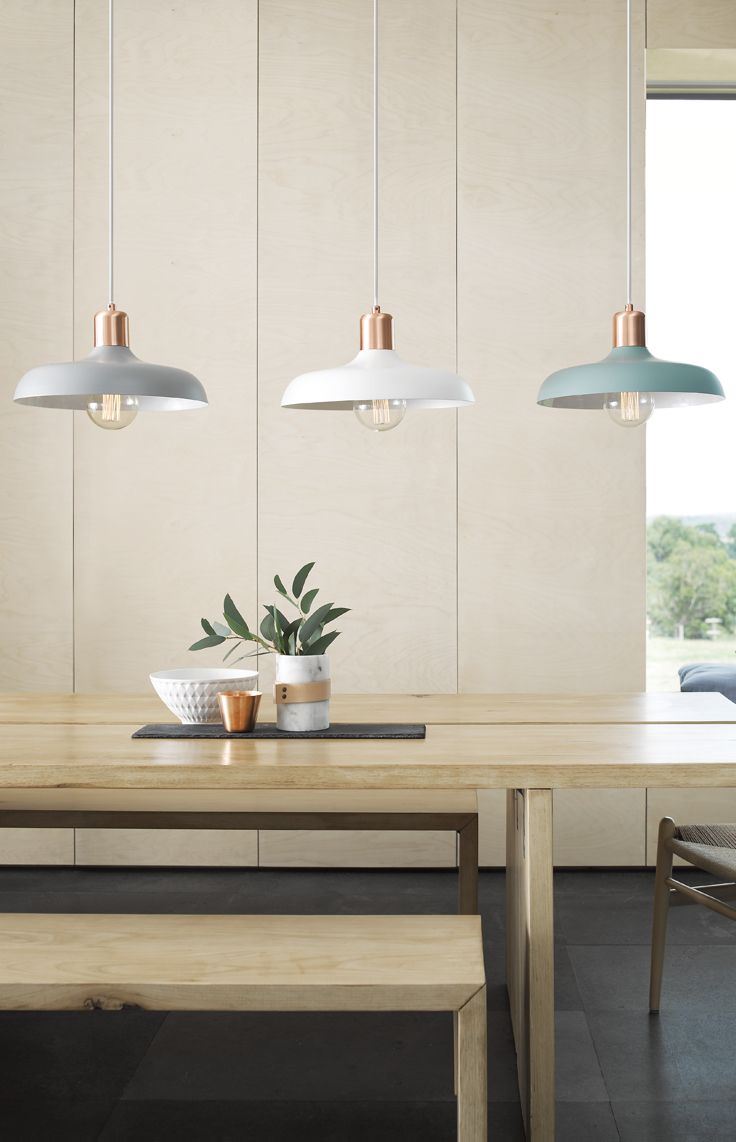 The Beacon Lighting croft pendants are a key look to the raw luxe trend. These pendants integrate copper with matte finish colours with all pendants being white inside, producing a better light output.: