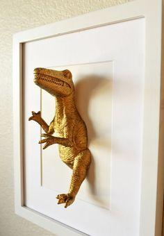 Dinosaur artwork/ gold dinosaurs/ 8x10/ mixed media/ office space art/ plastic taxidermy/