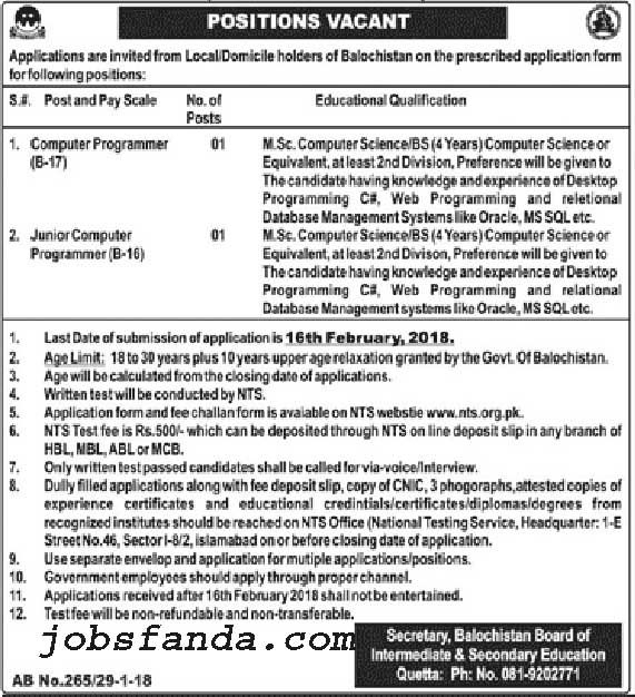 Board Of Intermediate And Secondary Education BISE Jobs 2018 In Quetta For Computer Programmer https://www.jobsfanda.com/board-intermediate-secondary-education-bise-jobs-2018-quetta-computer-programmer/